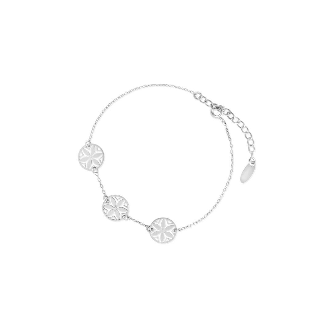 Bransoleta srebrna z ażurowymi kwiatami