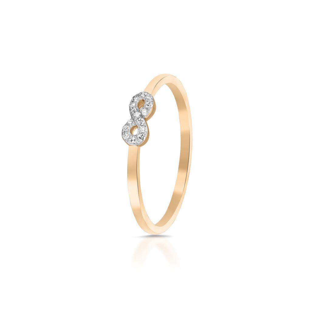 Pierścionek złoty z diamentem nieskończoność