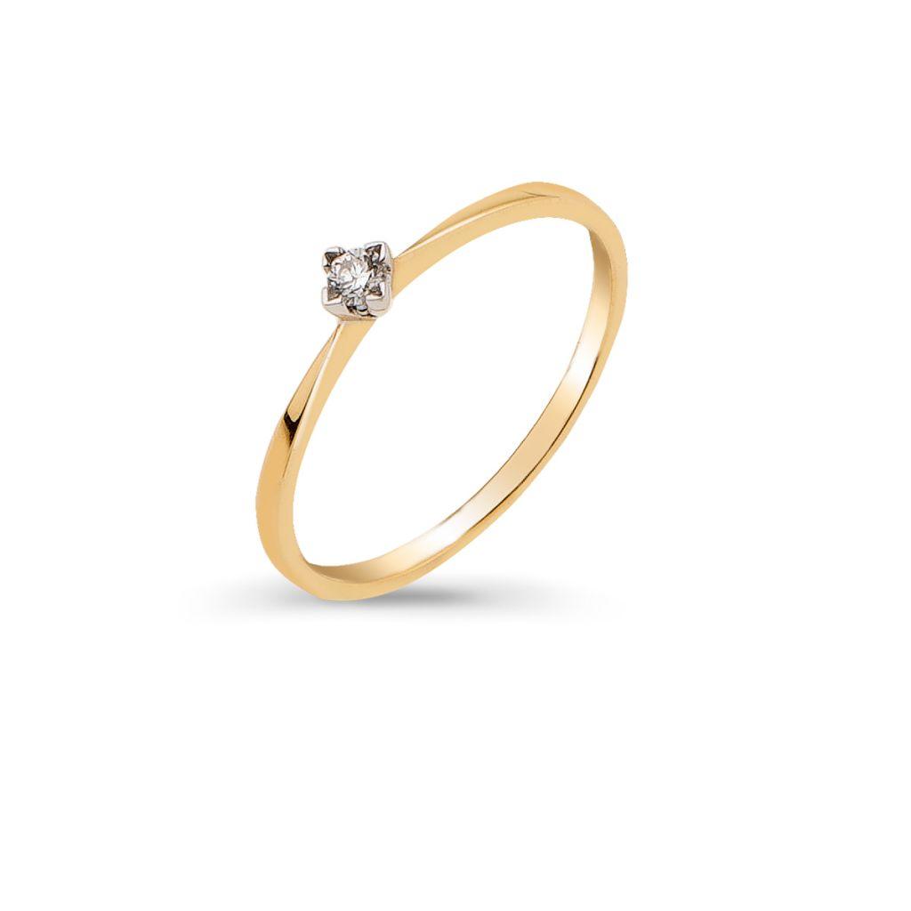 Pierścionki Pierścionek Zaręczynowy Złoty Wkruk Zcgpb370