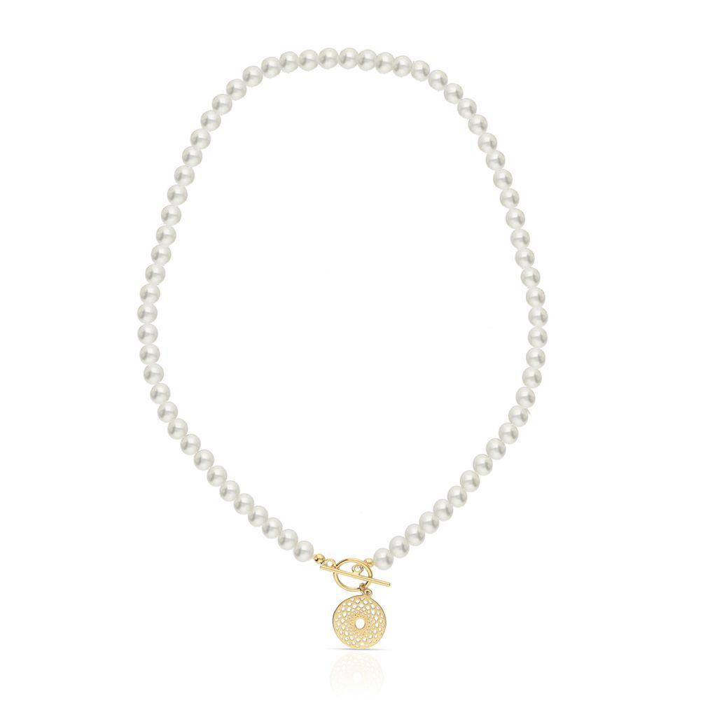 Naszyjnik srebrny arabeska pozłacany z perłami