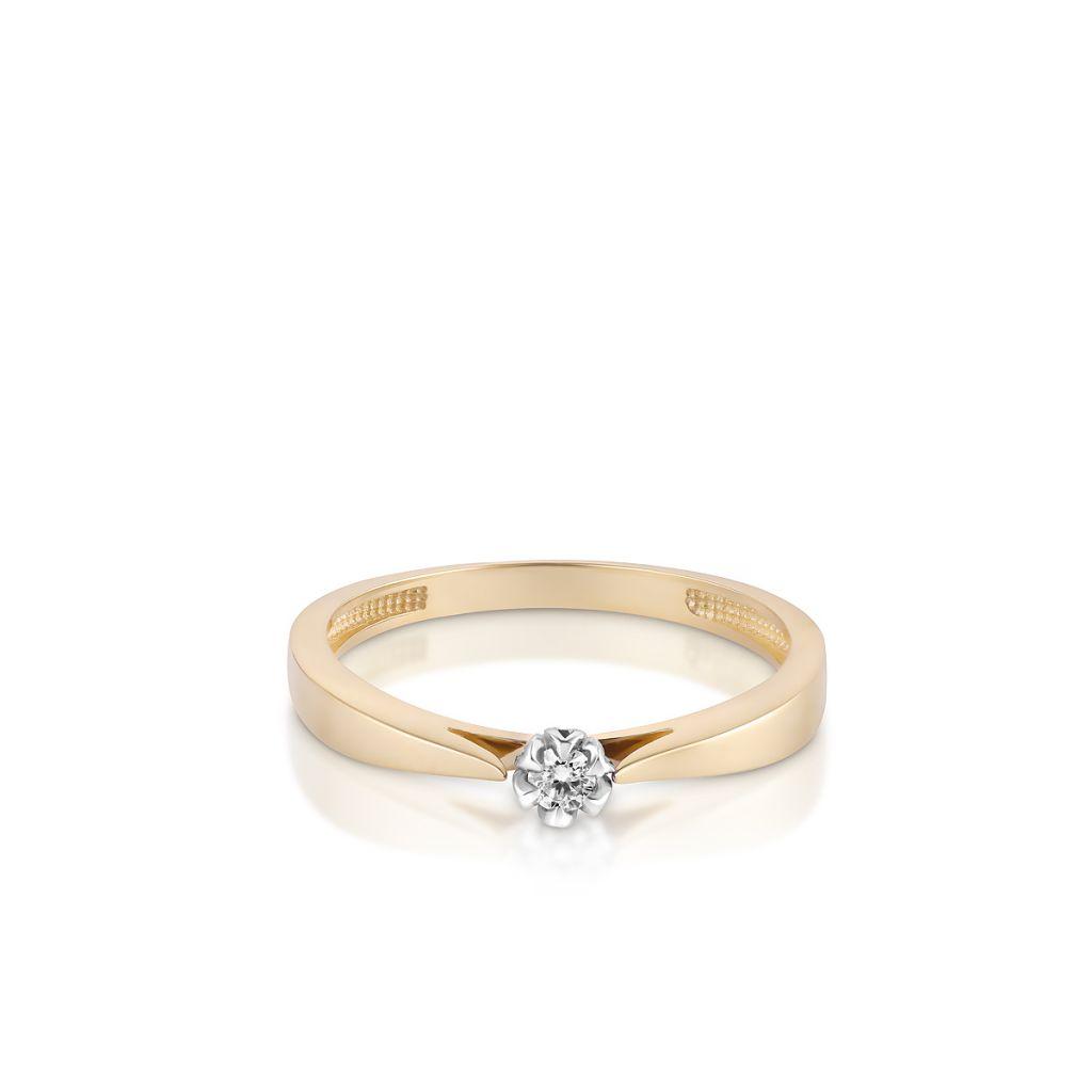 Pierścionki Pierścionek Zaręczynowy Złoty Romantyczny Znnpb22bk