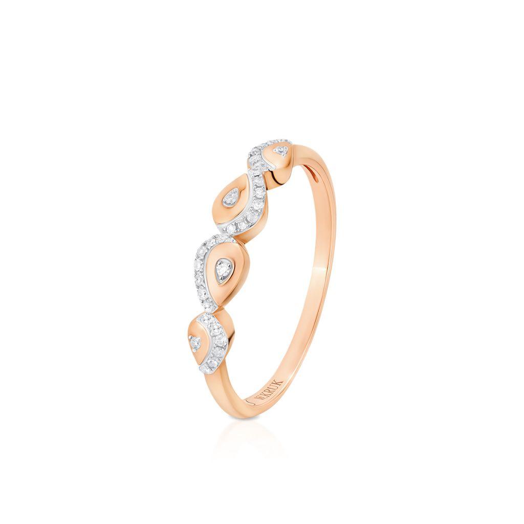 Pierścionek złoty bicolor z diamentami
