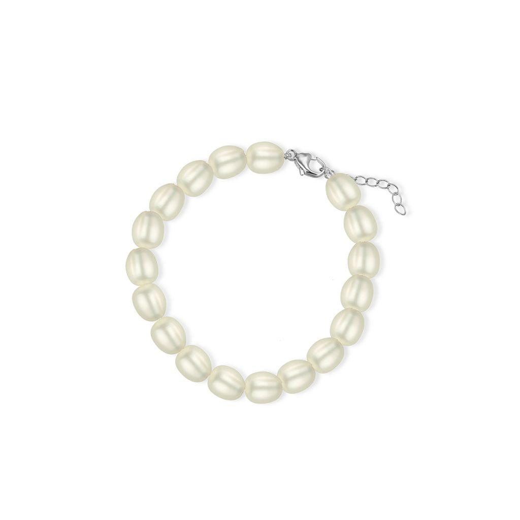 Bransoleta srebrna z perłami