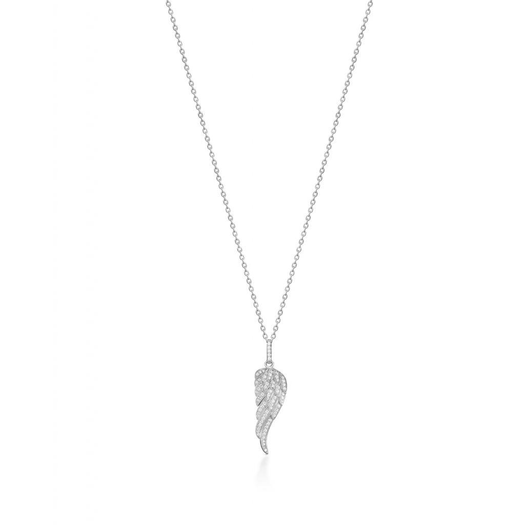 Naszyjnik srebrny z cyrkoniami skrzydło