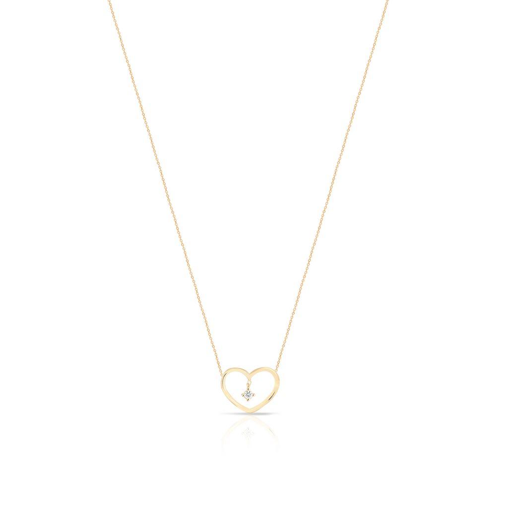 Naszyjnik złoty serce z cyrkonią