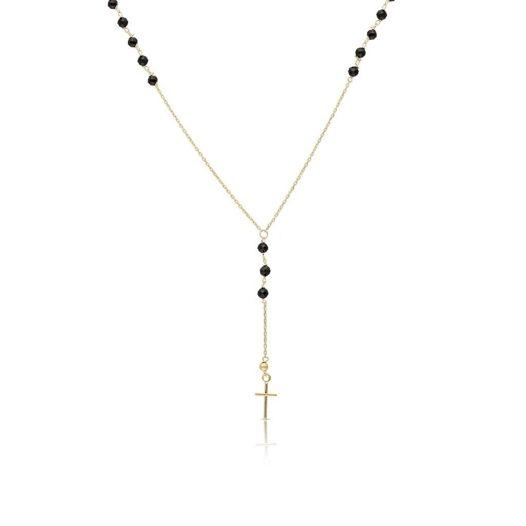 Naszyjnik złoty ze spinelami krzyżyk
