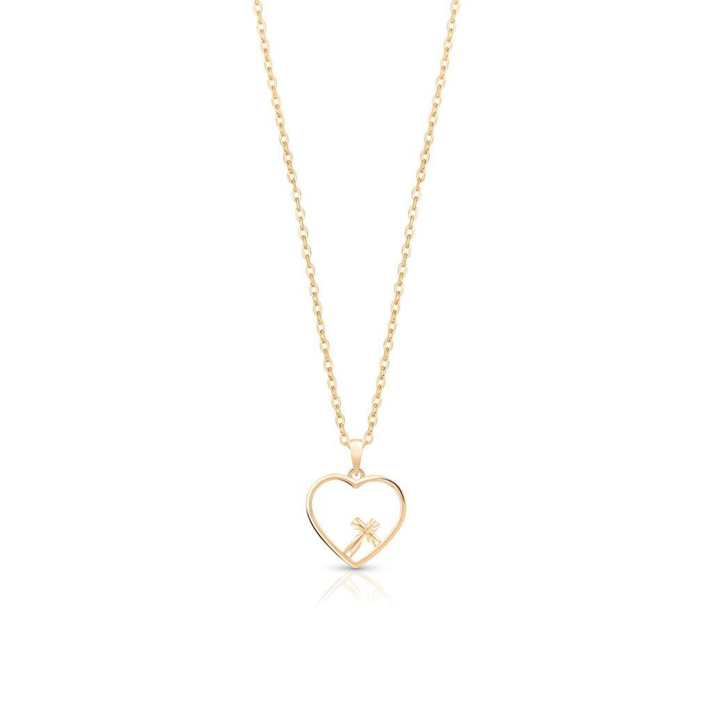 Wisiorek złoty serce z krzyżykiem