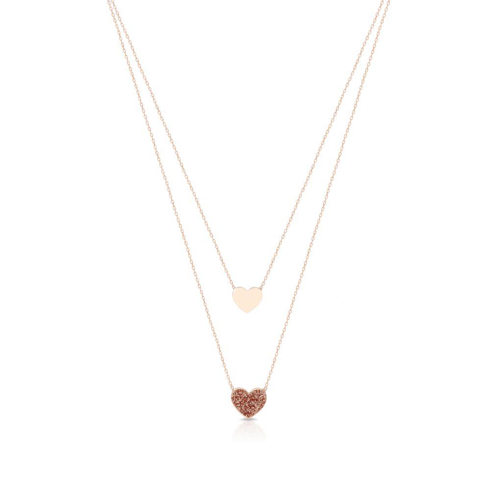 Naszyjnik różowe złoto z motywem serca