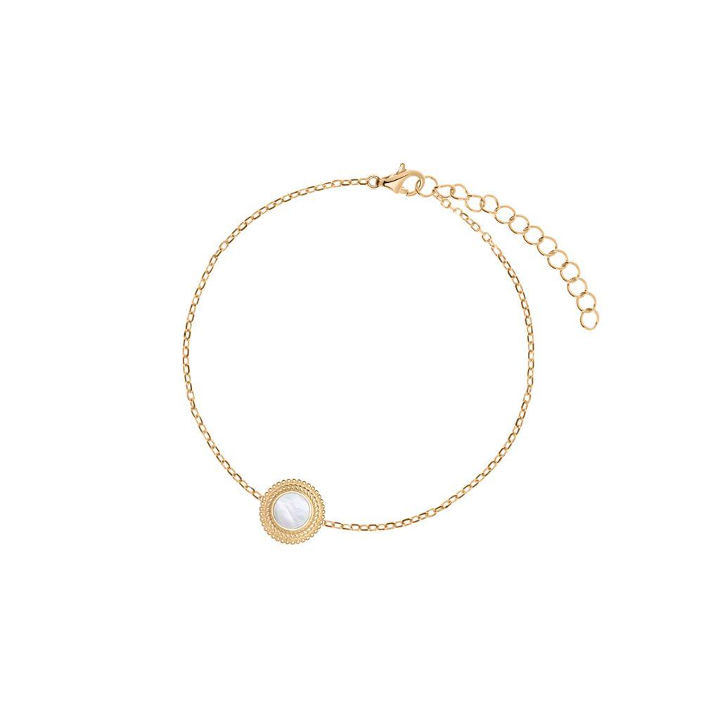 Bransoletka srebrna pozłacana z masą perłową