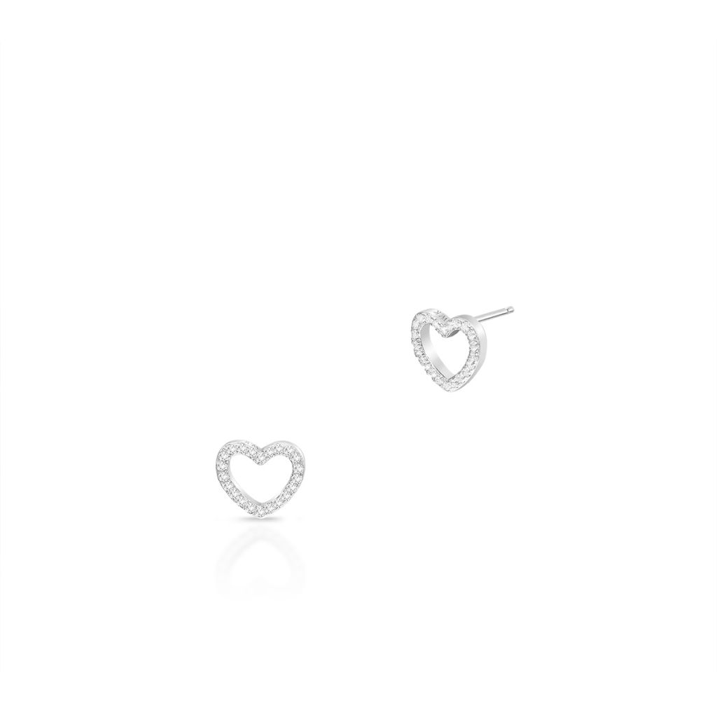 Kolczyki srebrne serca z cyrkoniami