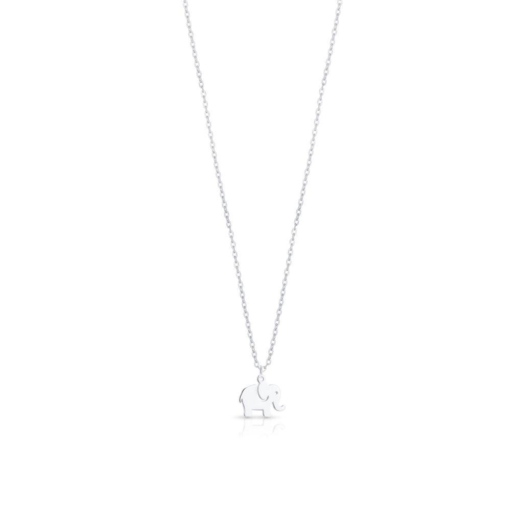 Naszyjnik srebrny z zawieszką w kształcie słonika