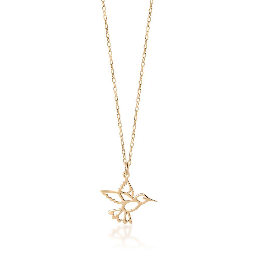 Naszyjnik srebrny pozłacany koliber